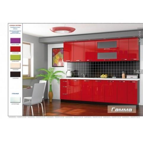 Кухня Гамма (красный) Мебель Сервис