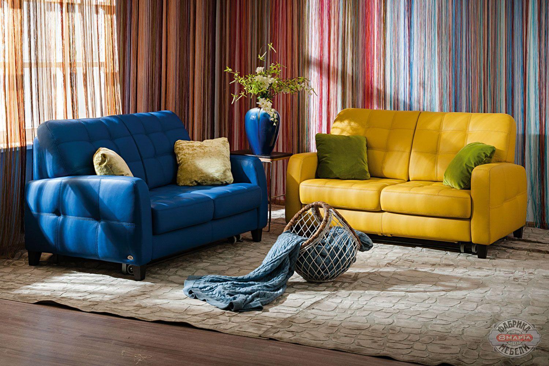Прямой желтый диван