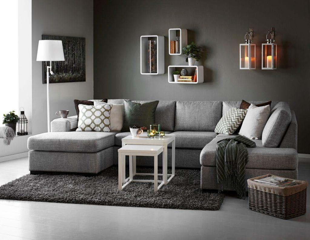 Большой серый угловой диван
