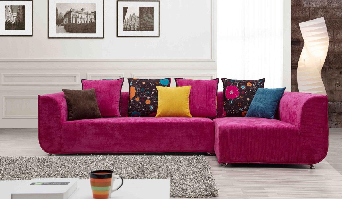 Угловой Малиновый диван в гостинную
